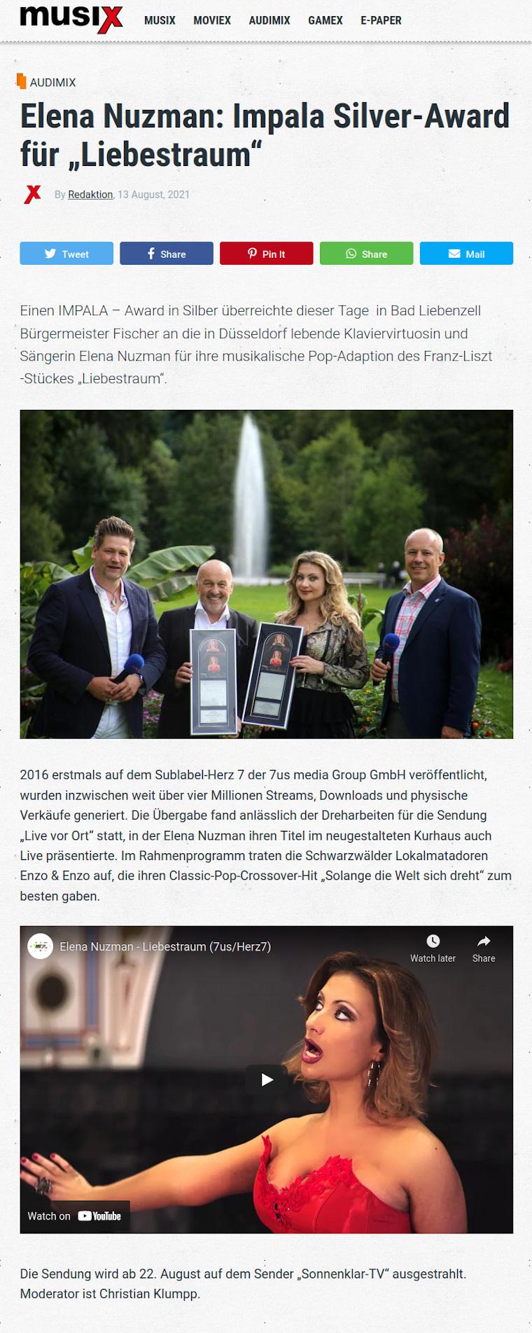 Elena Nuzman - Aktuell - Musix.de - IMPALA Silver-Award - August 2021