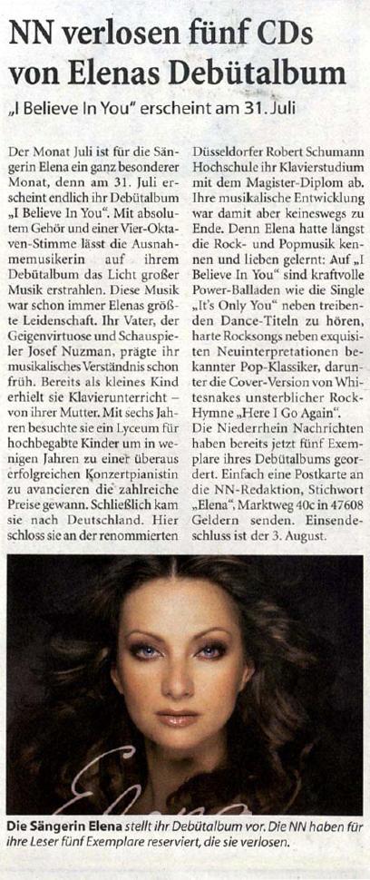 Elena Nuzman - Niederrhein Nachrichten - Juli 2009
